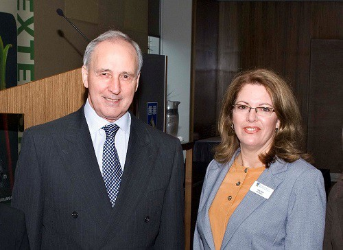 Paul Keating with Life and Times Video Producer Cindy Siano