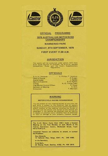 1979 Australian Motocross Championships Wanneroo WA Program