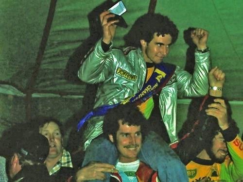 1979 Australian Motocross Championships Wanneroo - All Power winner Nevile Cutts on third place getter Graeme Smythe's shoulders