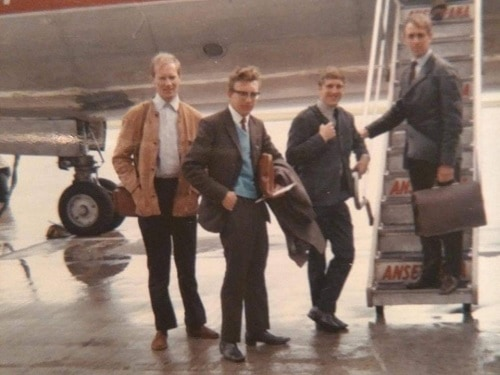 1966 Australian NZ International Tour in New Zealand - International riders at airport in Tasmania