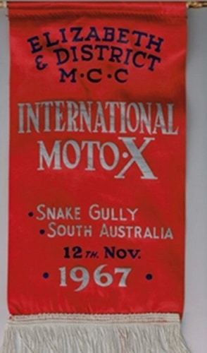 1967 Banner promoting a round of the Australian New Zealand tour at Snake Gully SA