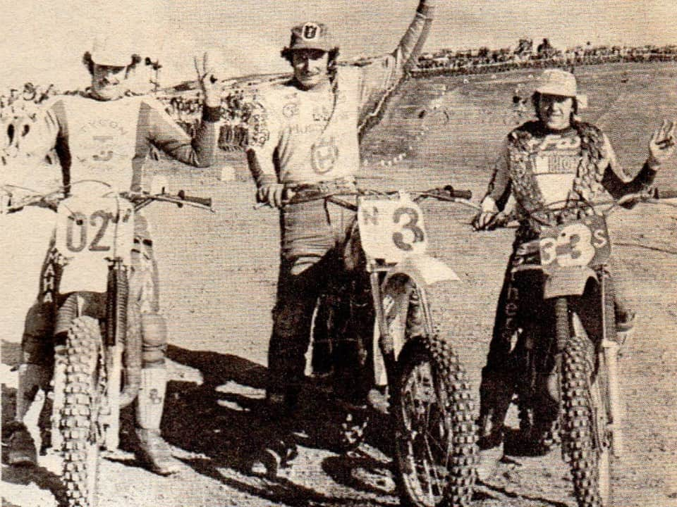 1979 Mr Motcoross round 2 winners - Graeme Smythe, Pelle Granquist and Steve Rowlands