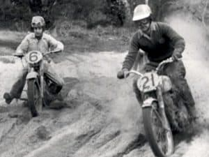 1956 - Peter Nicol, WA on his way to victory on a BSA in the 350cc class at the Australian Scramble Championships at Moorebank, Sydney on 27 May 1956