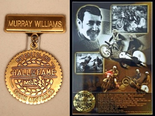Murray Williams Australian Sidecar Legend - Inducted to SA MA Hall of Fame in 2014