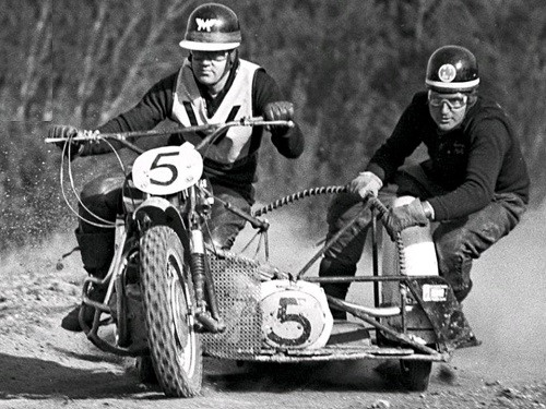 South Australian sidecar ace Murray Williams with passenger Herb Castle winning their second Australian Championship in 1967 at Mt Kembla NSW