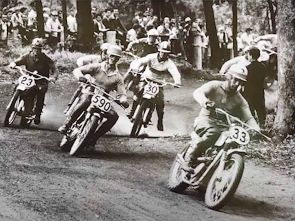 1967 Australian Motocross Championships - Ray Fisher leads Laurie Alderton in the 500cc class