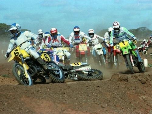 1983 King of the Cross crash sequence 2-4 Craig Dack drops his Yamaha
