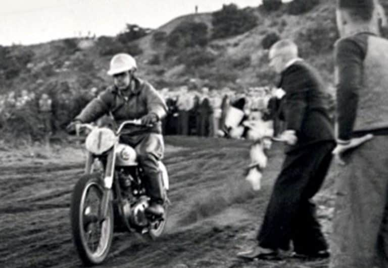 1955 Peter Nicol wins the Unlimited Australian Championship on a BSA