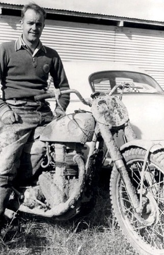 1956 Australian Motocross Championships - Peter Nicol after winning the 350cc title